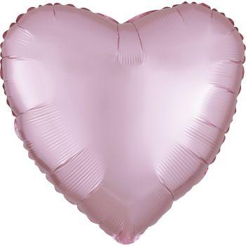 Ballon hélium satin luxe rose pastel coeur