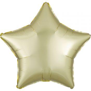 Ballon hélium satin luxe jaune pastel étoile