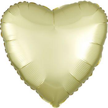 Ballon hélium satin luxe jaune pastel coeur