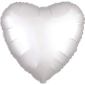 Ballon hélium satin luxe blanc coeur