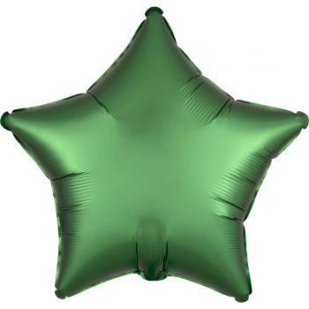 Ballon hélium satin luxe vert émeraude étoile