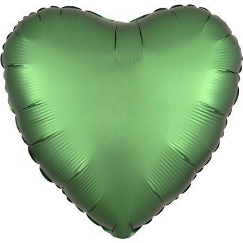 Ballon hélium satin luxe vert émeraude coeur