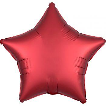 Ballon hélium satin luxe rouge étoile