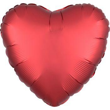 Ballon hélium satin luxe rouge coeur