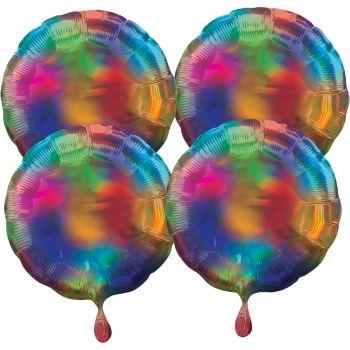 4 ballons hélium rond rainbow irisé