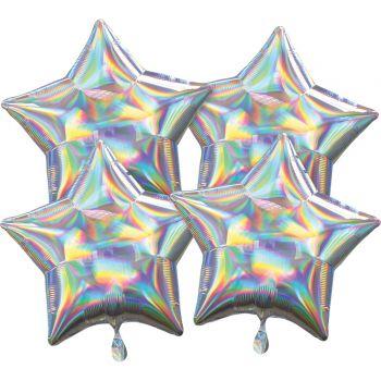 4 ballons hélium étoile argent irisé