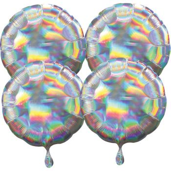 4 ballons hélium rond argent irisé