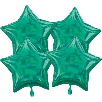 4 ballons hélium étoile vert irisé