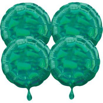 4 ballons hélium rond vert irisé