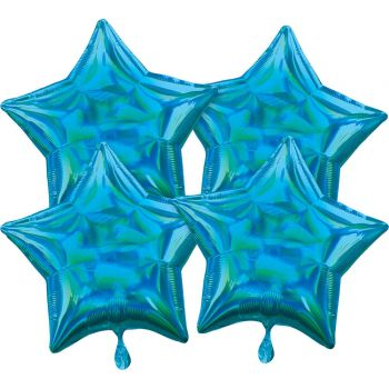 4 ballons hélium étoile bleu irisé