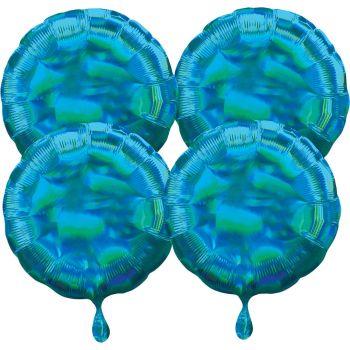 4 ballons hélium rond bleu irisé