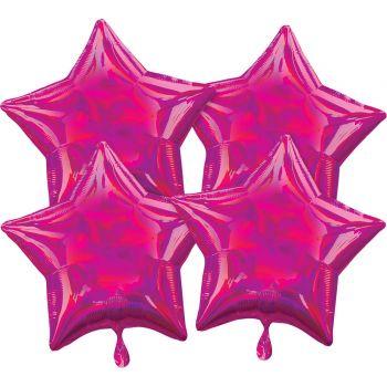 4 ballons hélium étoile fuchsia irisé