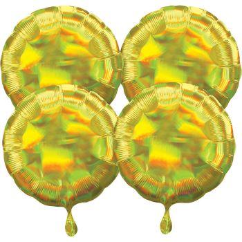 4 ballons hélium rond jaune irisé