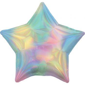 Ballon hélium étoile pastel irisé