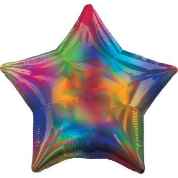 Ballon hélium étoile rainbow irisé