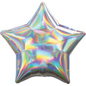 Ballon hélium étoile argent irisé