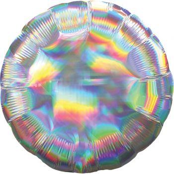 Ballon hélium rond argent irisé