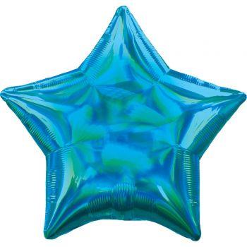 Ballon hélium étoile bleu irisé