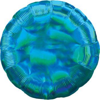 Ballon hélium rond bleu irisé