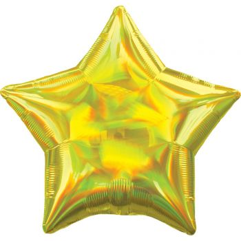 Ballon hélium étoile jaune irisé