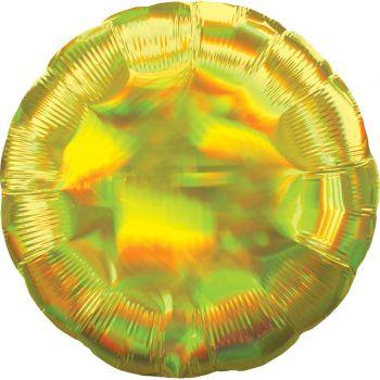 Ballon hélium rond jaune irisé
