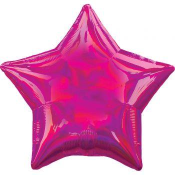 Ballon hélium étoile fuchsia irisé