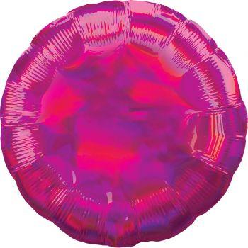 Ballon hélium rond fuchsia irisé