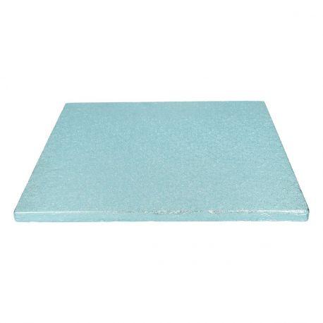 Semelle à gâteau carrée couleur bleu bébé très épaisse, idéal pour les gâteaux lourd.Dimensions : Ø30.5cm x épaisseur 12mm