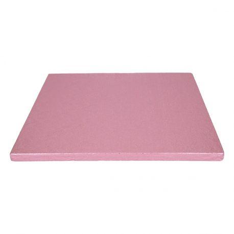 Semelle à gâteau carrée couleur rose bébé très épaisse, idéal pour les gâteaux lourd.Dimensions : Ø30.5cm x épaisseur 12mm