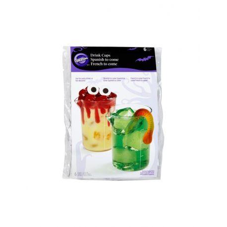 6 Verres pichet en plastique rigide Dimensions: environ 6 cm de diamètre et 8 cm de hauteur. Contenu des verres pour les fêtes: 169 ml.