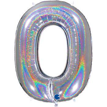 Ballon géant helium chiffre 0 holographique argent