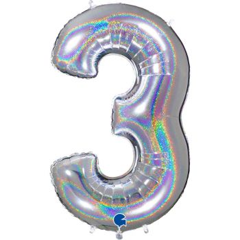 Ballon géant helium chiffre 3 holographique argent