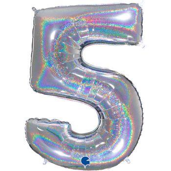 Ballon géant helium chiffre 5 holographique argent