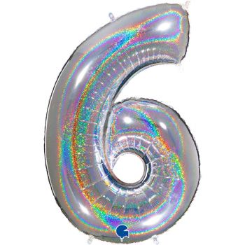 Ballon géant helium chiffre 6 holographique argent