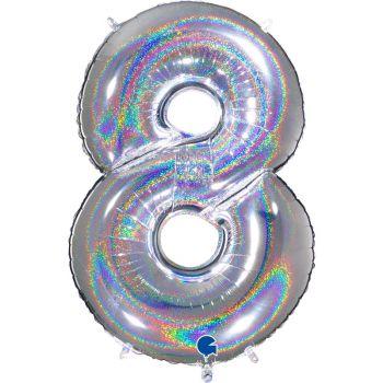 Ballon géant helium chiffre 8 holographique argent