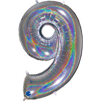 Ballon géant helium chiffre 9 holographique argent