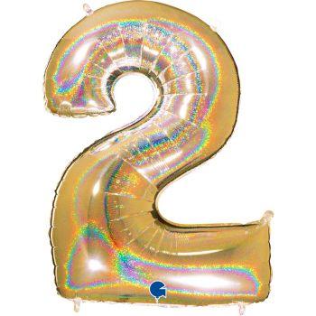 Ballon géant helium chiffre 2 holographique or