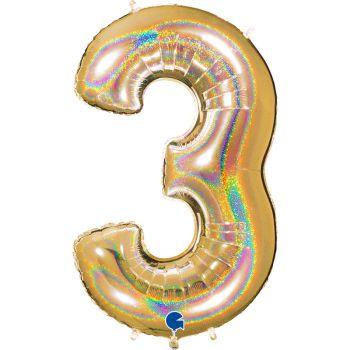 Ballon géant helium chiffre 3 holographique or
