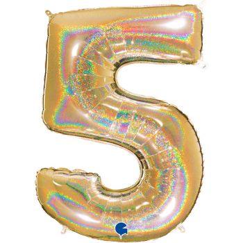 Ballon géant helium chiffre 5 holographique or