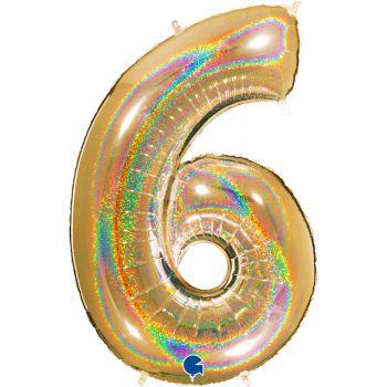 Ballon géant helium chiffre 6 holographique or