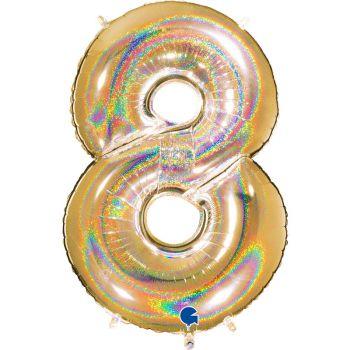 Ballon géant helium chiffre 8 holographique or