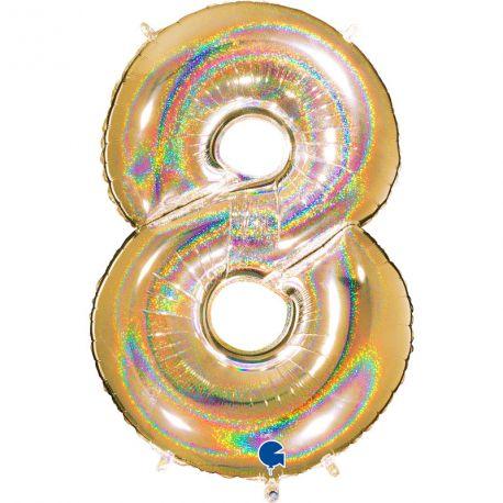 Superbe ballon géant en forme de chiffre 8 impression or effet holographiqueBallon en aluminium pouvant étre gonflé avec ou sans...