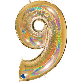 Ballon géant helium chiffre 9 holographique or