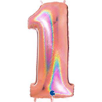 Ballon géant helium chiffre 1 holographique gold rose
