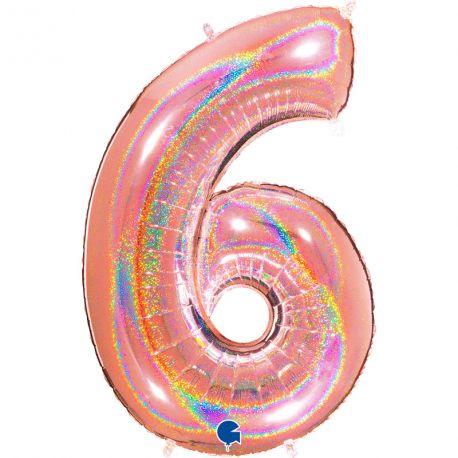 Superbe ballon géant en forme de chiffre 6 impression gold rose effet holographiqueBallon en aluminium pouvant étre gonflé avec ou...