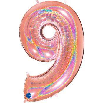 Ballon géant helium chiffre 9 holographique gold rose