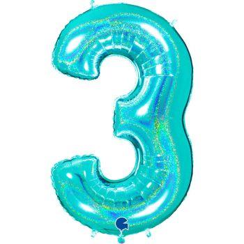Ballon géant helium chiffre 3 holographique Tiffany