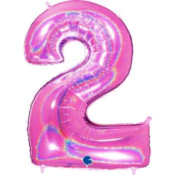 Ballon géant helium chiffre 2 holographique fuchsia