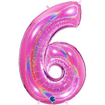 Ballon géant helium chiffre 6 holographique fuchsia