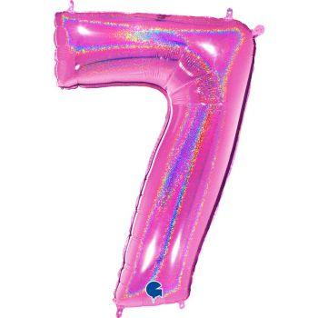 Ballon géant helium chiffre 7 holographique fuchsia